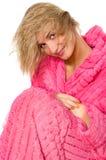 湿有吸引力的白肤金发的女孩的头发 库存图片
