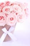 湿桃红色罐的玫瑰 库存照片
