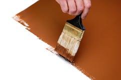 湿棕色画笔的油漆 免版税图库摄影