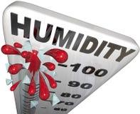 湿气平实率上升的100%温度计 免版税库存图片