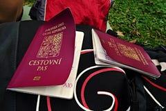 湿气损坏的捷克护照 免版税库存照片