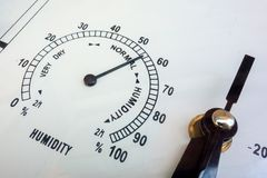 湿气测量 针仪器湿度计特写镜头 天气原因和气象参量 类似物的面孔 免版税库存照片