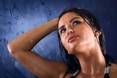 湿的女孩 库存照片