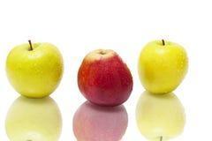 湿的苹果三 库存照片