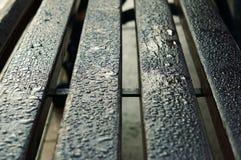 湿的长凳 库存照片