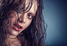 湿的头发 免版税库存图片