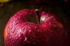 湿红色美味苹果特写镜头,新鲜的水多的红色苹果,接近的u 库存图片