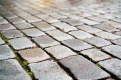 湿老花岗岩路面特写镜头 免版税库存图片