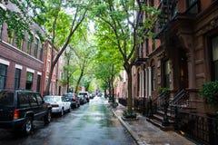 湿街道和停放的汽车,格林尼治村,纽约 免版税库存图片