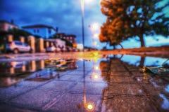 湿边路在夜之前 图库摄影