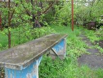 湿长凳在雨以后的庭院里。 免版税库存照片