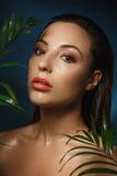 湿组成 时尚摄影样式 叶子的赤裸妇女 免版税图库摄影