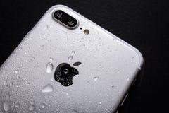 湿iPhone 7后侧方 免版税库存图片