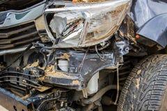 崩溃汽车的细节事故 库存照片