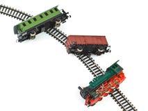 崩溃玩具火车 库存照片