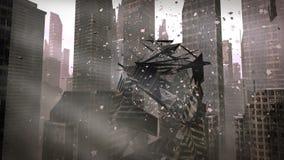 崩溃的大厦在都市城市