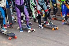 溜冰板者设备起动门 免版税库存照片