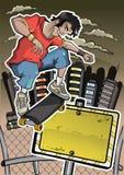 溜冰者执行窍门与横幅 免版税库存图片