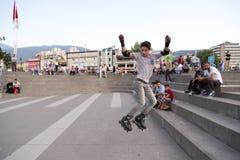 溜冰者男孩在伯萨,土耳其 库存照片