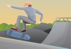 溜冰者男孩在公园概念背景,动画片样式中 皇族释放例证