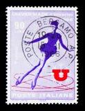 溜冰者,大学冬运会serie,大约1966年 免版税库存图片