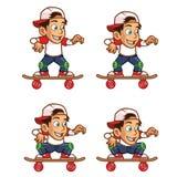 溜冰者BoyLowering他的身体动画片魍魉 免版税库存图片