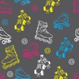 溜冰鞋无缝的样式 库存图片