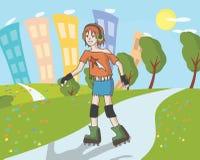 溜冰鞋的少年女孩在夏天街道 库存照片