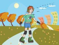 溜冰鞋的少年女孩在秋天街道 库存图片