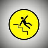 溜滑台阶标志 台阶传染媒介的落的人 库存照片
