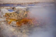 溢出水和蒸汽的热的生锈的喷泉 免版税库存照片