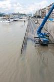 溢出的多瑙河在布达佩斯 库存照片