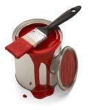 溢出的油漆罐头 库存图片