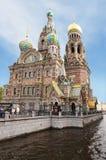 溢出的血液圣彼德堡俄罗斯的救主教会  库存照片