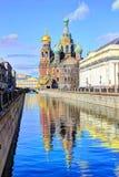 溢出的血液的,圣彼得堡,俄罗斯救主 库存照片