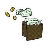 溢出金钱的可笑的动画片钱包 免版税库存图片