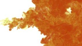 溶化在白色背景,抽象背景,墨水射入的水中的风格化橙色墨水到流动3d里回报 皇族释放例证