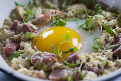 溺爱的鸭子鸡蛋用烟肉、螃蟹&韭葱 库存图片