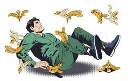 滑倒在香蕉果皮的人 E 库存例证
