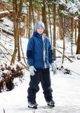 滑冰女孩的冰户外 库存图片