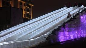 滑冰的冰幻灯片在莫斯科 影视素材