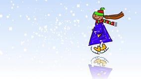 滑冰的动画片儿童孩子 向量例证