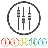 滑子或音量控制器控制板,音量控制器象,包括的6种颜色 库存例证