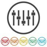 滑子或音量控制器控制板,音量控制器象,包括的6种颜色 皇族释放例证