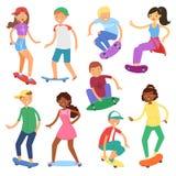 滑板的溜冰板者导航踩滑板的男孩或女孩字符或在船上跳少年的溜冰者  库存照片