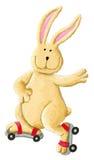 滑稽兔子滑冰 免版税库存图片