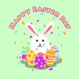 滑稽和五颜六色的愉快的复活节贺卡和党用兔子、兔宝宝例证、鸡蛋、五彩纸屑党和文本 向量例证