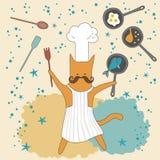滑稽猫的主厨 免版税图库摄影