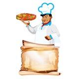 滑稽的主厨和传统意大利薄饼 免版税库存照片