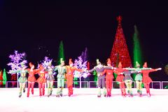 滑稽的人和滑冰在冰的妇女矮子在圣诞节展示在国际推进地区 库存照片